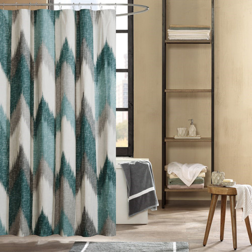 "Aqua Blue & Grey Broken Chevron Cotton Fabric Shower Curtain - 72"" x 72"" (Alpine-Aqua-Shower)"