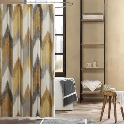 "Yellow & Taupe Broken Chevron Cotton Fabric Shower Curtain - 72"" x 72"" (Alpine-Yellow-Shower)"