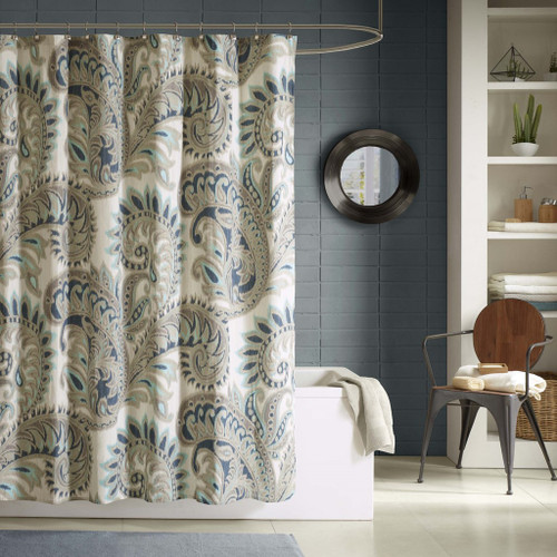 """Blue Green & Taupe Paisley Cotton Fabric Shower Curtain - 72"""" x 72"""" (Mira-Blue-Shower)"""