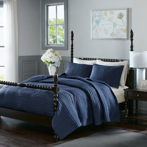 Luxury Navy Blue Cotton Quilted Coverlet AND Decorative Shams (Serene-Blue-cov)