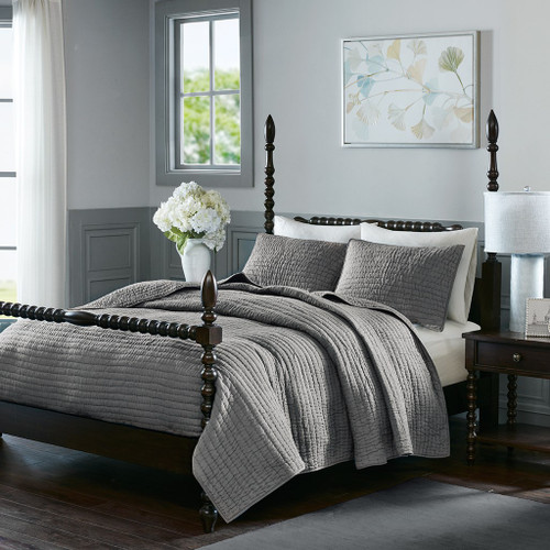 Grey Cotton Quilted Coverlet AND Decorative Shams (Serene-Grey-cov)