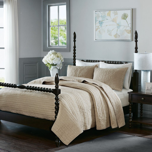 Luxury Linen Cotton Quilted Coverlet AND Decorative Shams (Serene-Linen-cov)