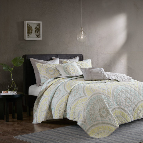 7pc Yellow Grey & Blue Medallion Coverlet Quilt Set AND Decorative Pillows (Matti-Yellow-Cov)