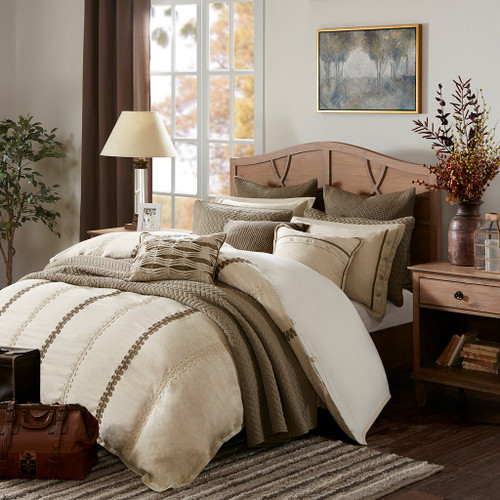 Shades of Brown Embroidered Textured Comforter Set AND Decorative Pillows (Chateau-Linen)