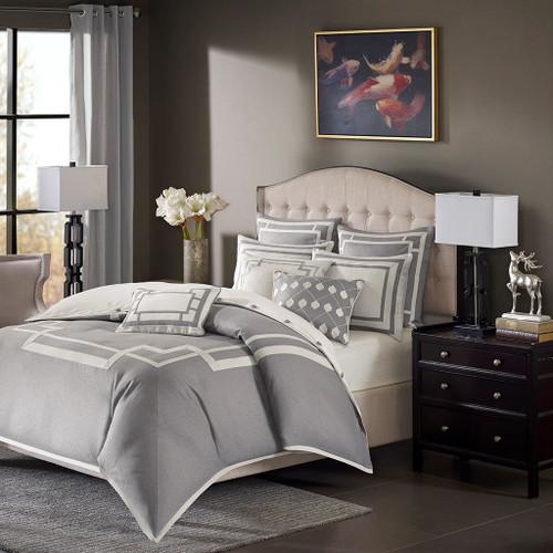 Grey & Pearl Herringbone Jacquard Comforter Set AND Decorative Pillows (Savoy-Grey)