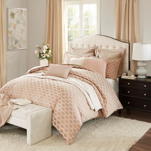 Pink Rose Quartz & Taupe Jacquard Ogee Comforter Set AND Decorative Pillows (Romance-Pink)