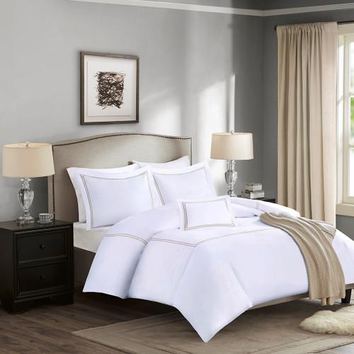 5pc White & Tan 1000TC Cotton Duvet w/Comforter AND Decorative Pillow (Luxury Collection-Tan)
