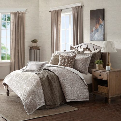 Ivory & Brown Woven Jacquard Floral Comforter Set AND Decorative Pillows (Sophia-Ivory)