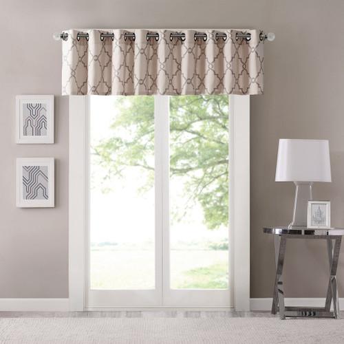 Beige & Soft Grey Fretwork Pattern Window Valance - Grommet Top (Saratoga-Beige)