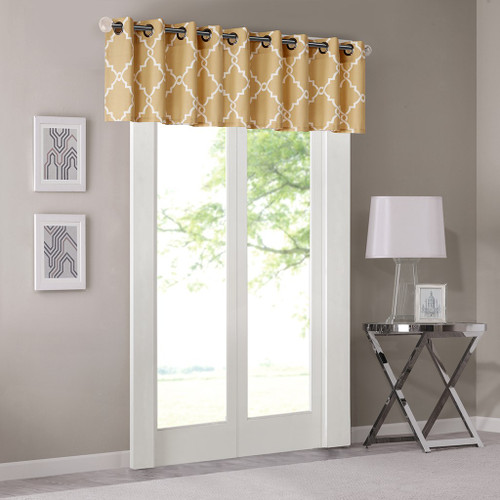 Yellow & Light Beige Fretwork Pattern Window Valance - Grommet Top (Saratoga-Yellow)