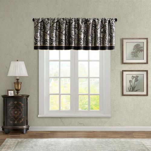 Black Gold & Grey Paisley Jacquard Window Valance - Rod Pocket (Aubrey-Black-val)