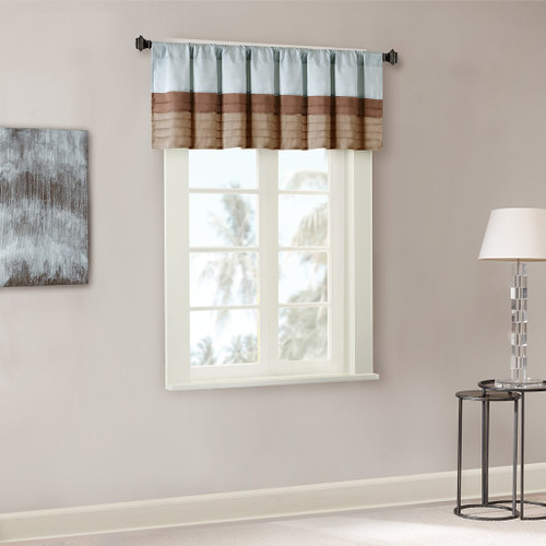 Blue & Brown Striped Pintucked Window Valance - Rod Pocket (Tradewinds-Blue-val)