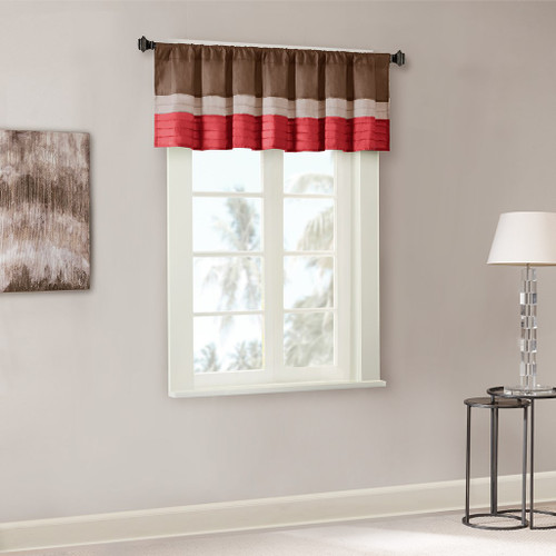 Deep Red & Brown Striped Pintucked Window Valance - Rod Pocket (Tradewinds-Red-val)