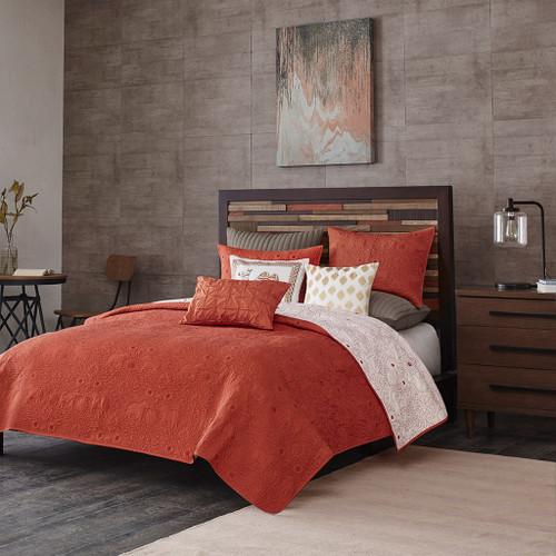 3pc Rich Coral Reversible Quilted Coverlet AND Decorative Shams (Kandula-Coral-Cov)