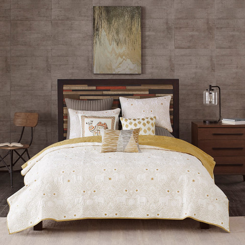 3pc Rich Mustard Yellow Reversible Quilted Coverlet AND Decorative Shams (Kandula-Yellow-Cov)