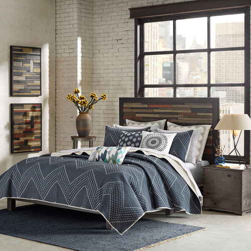 3pc Navy Blue & Grey Chevron Reversible Coverlet AND Decorative Shams (Pomona-Navy-Cov)