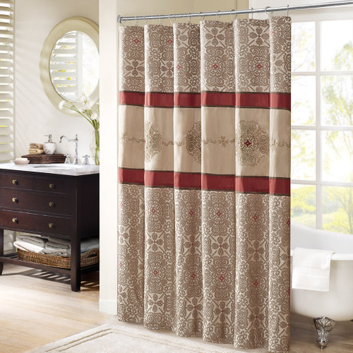 "Brown & Burgundy Medallion Embroidered Fabric Shower Curtain - 72"" x 72"" (Donovan-Red-Shower)"