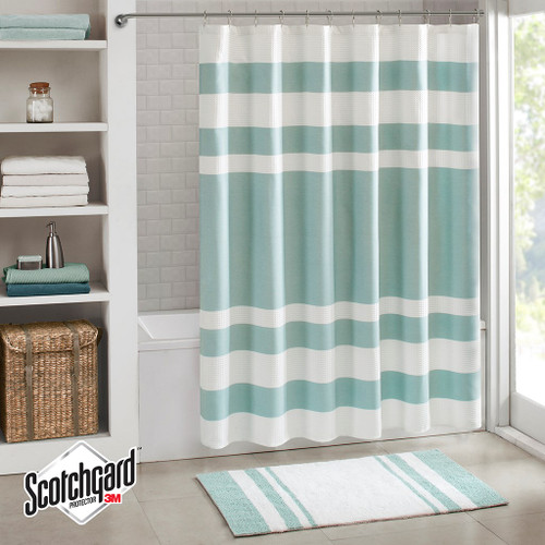 "Aqua Blue & White Striped Waffle Weave Fabric Shower Curtain - 72"" x 72"" (Spa Waffle-Aqua-Shower)"