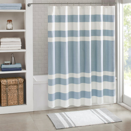 "Soft Blue & White Striped Waffle Weave Fabric Shower Curtain - 72"" x 72"" (Spa Waffle-Blue-Shower)"