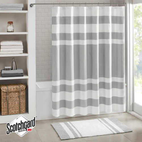 "Grey & White Striped Waffle Weave Fabric Shower Curtain - 72"" x 72"" (Spa Waffle-Grey-Shower)"