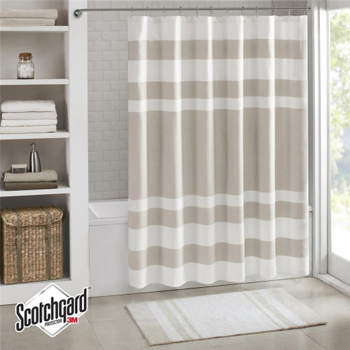 """Taupe & White Striped Waffle Weave Fabric Shower Curtain - 72"""" x 72"""" (Spa Waffle-Taupe-Shower)"""