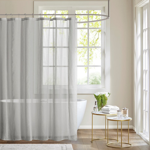 "Soft Grey Sheer Stripe Textured Fabric Shower Curtain - 72"" x 72"" (Anna-Grey-Shower)"