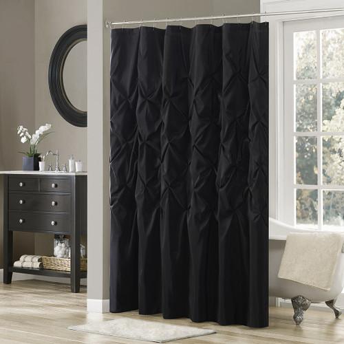 "Black Pleated Tufted Fabric Shower Curtain - 72"" x 72"" (Laurel-Black-Shower)"