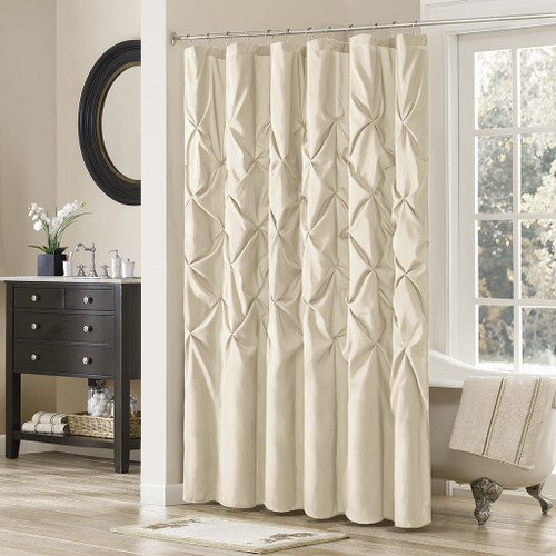 "Ivory Pleated Tufted Fabric Shower Curtain - 72"" x 72"" (Laurel-Ivory-Shower)"