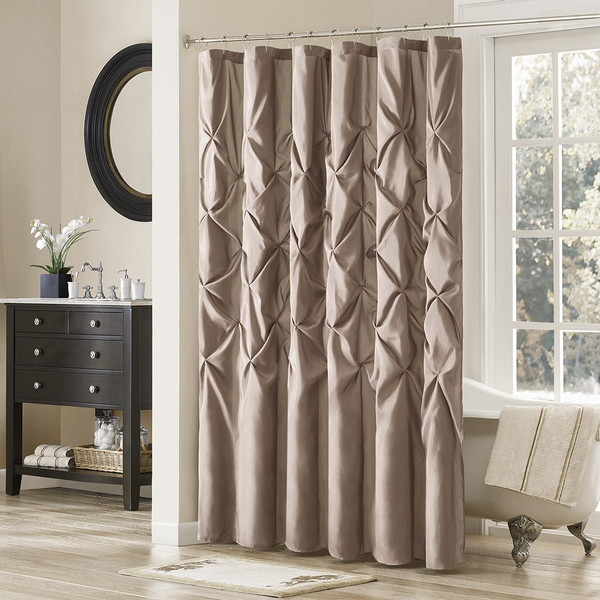 "Deep Taupe Pleated Tufted Fabric Shower Curtain - 72"" x 72"" (Laurel-Taupe-Shower)"