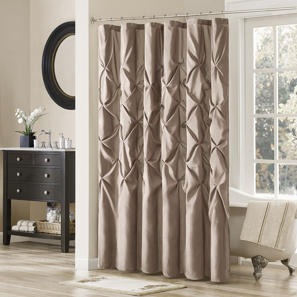 """Deep Taupe Pleated Tufted Fabric Shower Curtain - 72"""" x 72"""" (Laurel-Taupe-Shower)"""