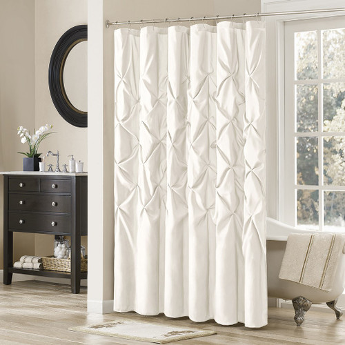 "White Pleated Tufted Fabric Shower Curtain - 72"" x 72"" (Laurel-White-Shower)"