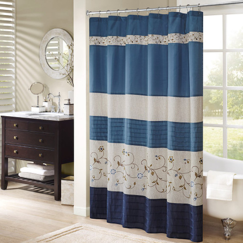 "Shades of Blue & Taupe Floral Embroidered Fabric Shower Curtain - 72"" x 72"" (Serene-Navy-Shower)"