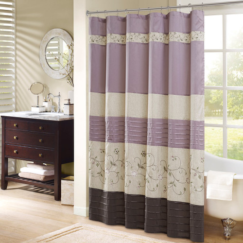 "Soft Purple & Brown Floral Embroidered Fabric Shower Curtain - 72"" x 72"" (Serene-Purple-Shower)"