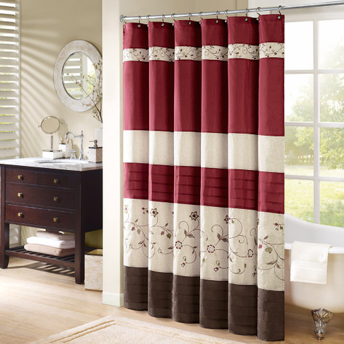 "Deep Red & Brown Floral Embroidered Fabric Shower Curtain - 72"" x 72"" (Serene-Red-Shower)"