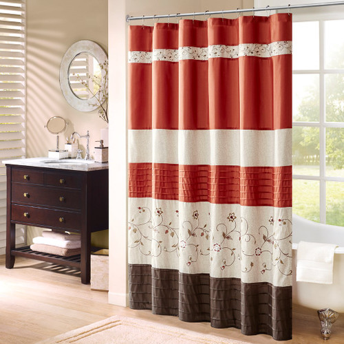 "Spice Orange & Brown Floral Embroidered Fabric Shower Curtain - 72"" x 72"" (Serene-Spice-Shower)"