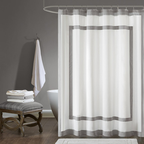 "White & Charcoal Grey Border Cotton Fabric Shower Curtain - 72"" x 72"" (Greyson-Grey-Shower)"