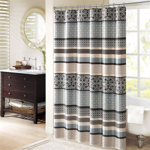 "Blue Taupe & Grey Geometric Damask Striped Fabric Shower Curtain - 72"" x 72"" (Princeton-Blue-Shower)"