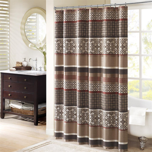 "Brown Taupe & Red Geometric Damask Striped Fabric Shower Curtain - 72"" x 72"" (Princeton-Red-Shower)"
