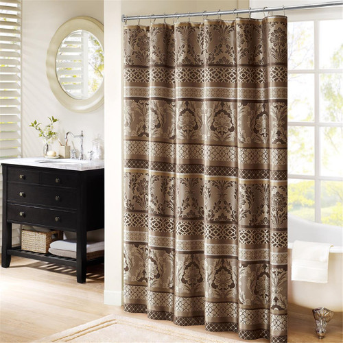 "Mocha Brown Leaf & Ironwork Motif Fabric Shower Curtain - 72"" x 72"" (Bellagio-Taupe-Shower)"