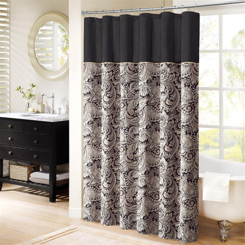 "Black & Gold Jacquard Paisley Print Fabric Shower Curtain - 72"" x 72"" (Aubrey-Black-Shower)"