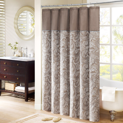 "Brown & Soft Blue Jacquard Paisley Print Fabric Shower Curtain - 72"" x 72"" (Aubrey-Blue-Shower)"
