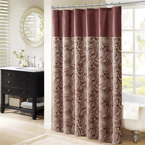"Burgundy & Gold Jacquard Paisley Print Fabric Shower Curtain - 72"" x 72"" (Aubrey-Burgundy-Shower)"