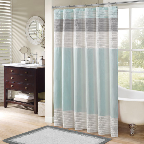 "Aqua Blue Grey & White Pintucking Striped Fabric Shower Curtain - 72"" x 72"" (Amherst-Aqua-Shower)"