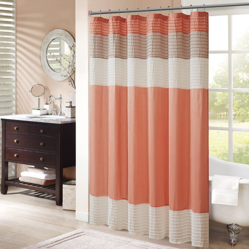 "Coral & Taupe Pintuck Striped Fabric Shower Curtain - 72"" x 72"" (Amherst-Coral-Shower)"