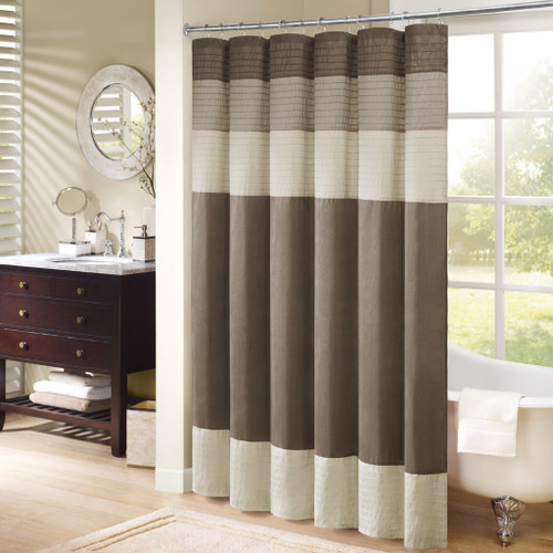 "Brown & Ivory Pintuck Striped Fabric Shower Curtain - 72"" x 72"" (Amherst-Ivory-Shower)"