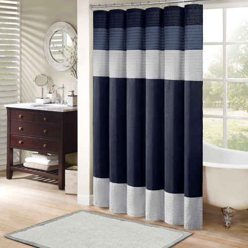 "Navy Blue & Grey Pintuck Striped Fabric Shower Curtain - 72"" x 72"" (Amherst-Navy-Shower)"