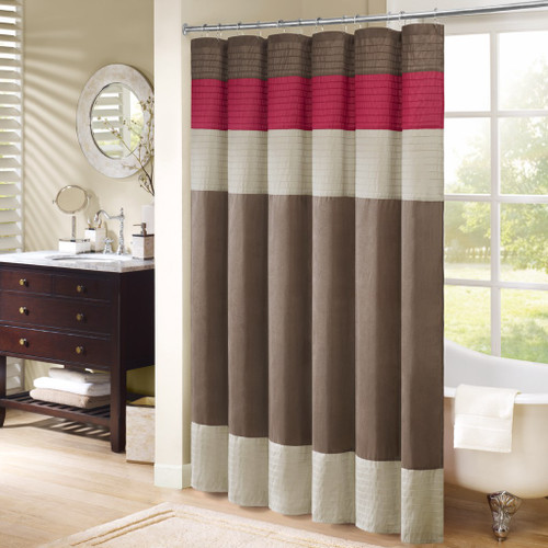 "Brown Taupe & Red Pintuck Striped Fabric Shower Curtain - 72"" x 72"" (Amherst-Red-Shower)"