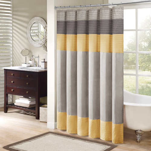 "Grey & Yellow Pintuck Striped Fabric Shower Curtain - 72"" x 72"" (Amherst-Yellow-Shower)"