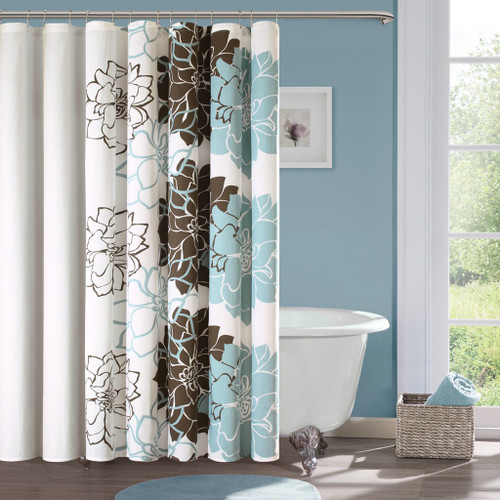 "Blue & Brown Floral Colorways Cotton Fabric Shower Curtain - 72"" x 72"" (Lola-Blue-Shower)"