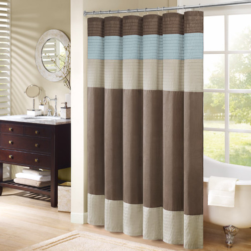 "Blue Brown & Taupe Pintuck Striped Fabric Shower Curtain - 72"" x 72"" (Trinity-Blue-Shower)"